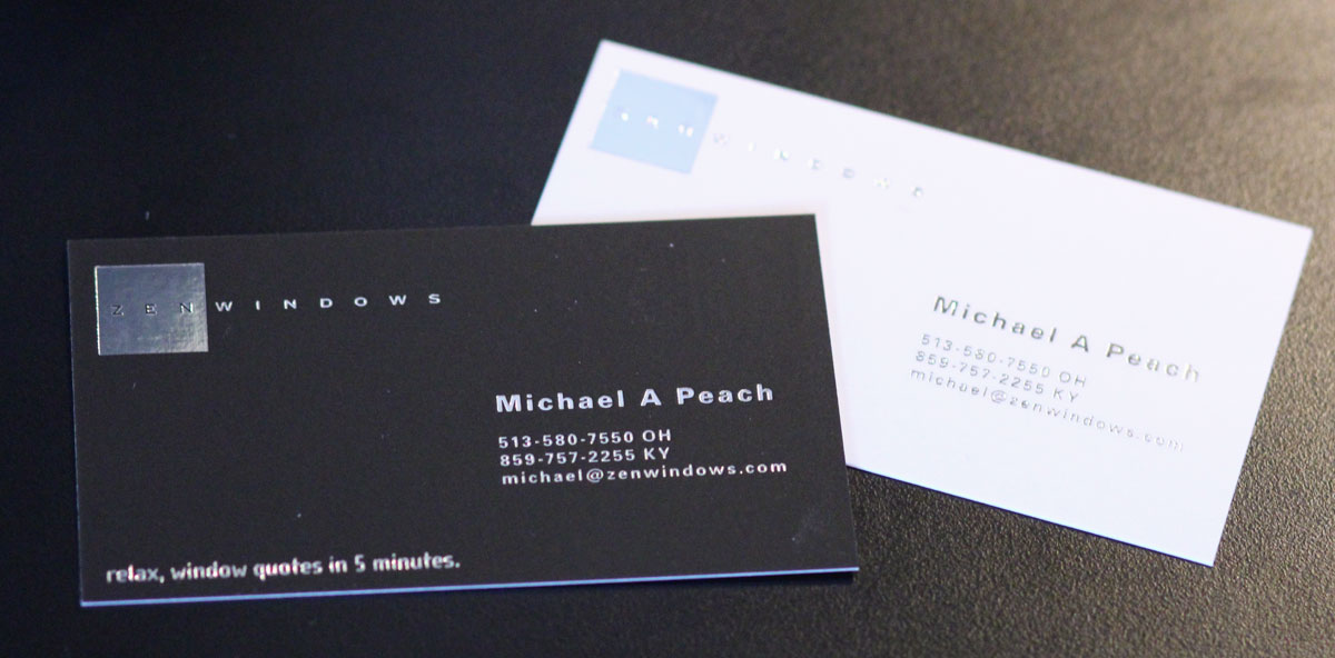 Silk foil business cards zen windows black one side white the other with silver foil embossed both sides colourmoves