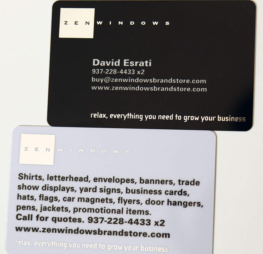 Plastic Business cards- silver foil | Zen Windows